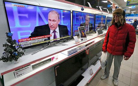Cuộc họp báo được truyền hình trực tiếp tại Nga. Ảnh: Reuters