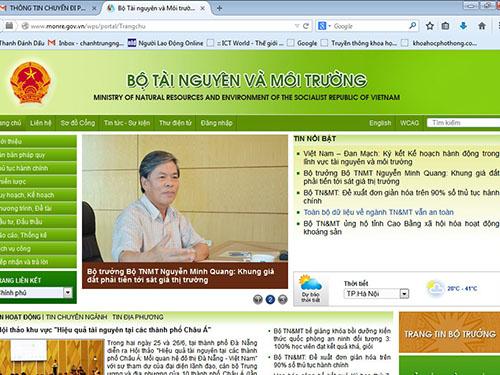 Vừa qua, website của Bộ Tài nguyên và Môi trường đã bị hacker tấn công