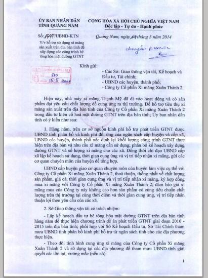 Công văn của ông Đinh Văn Thu, Phó chủ tịch Thường trực UBND tỉnh Quảng Nam yêu cầu sử dụng xi măng của công ty đóng trên địa bàn tỉnh. Ảnh: LÊ PHI