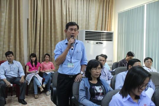 Ông Liêu Quang Vinh, Chủ tịch Công đoàn Công ty Freetrend, phát biểu tại một buổi gặp gỡ lãnh đạo LĐLĐ TP ẢNH: THANH NGA