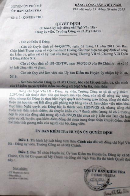Quyết định kỷ luật về mặt Đảng đối với ông Ngô Văn Hà