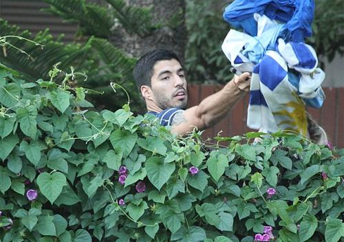 Suarez ném áo và cờ Uruguay có chữ ký của anh qua hàng rào cho các CĐV
