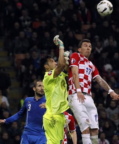 Thủ môn Buffon tranh chấp bóng với Mario Mandzukic