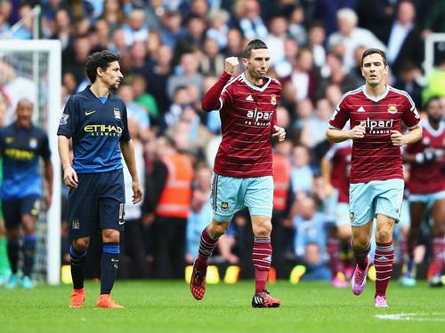 West Ham hai lần dẫn trước tỉ số Man City