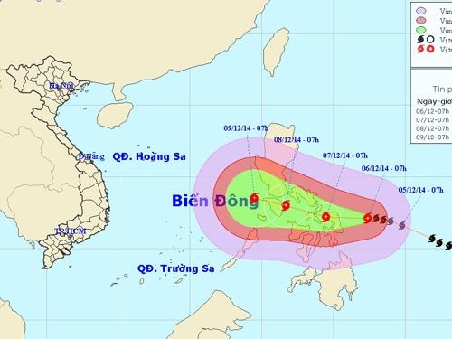 Dự báo vị trí và hướng di chuyển của bão Hagupit - Nguồn: Trung tâm dự báo khí tượng thủy văn trung ương