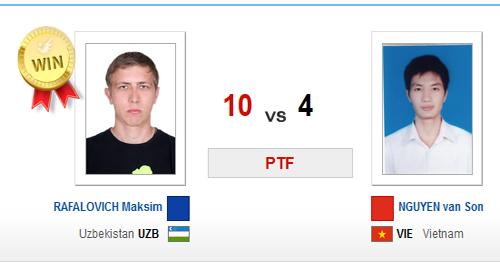 Kết quả của trận đấu giữa Nguyễn Văn Sơn và đối thủ người Uzbekistan