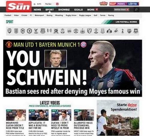Trang chủ của The Sun đăng dòng chữ phỉ báng cầu thủ người Đức
