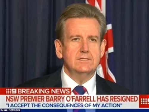 Ông Barry OFarrell thông báo quyết định từ chức hôm 16-4 Ảnh : Daily Mail