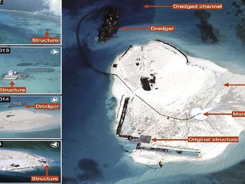 Những ảnh chụp trên không từ tháng 3-2012 đến tháng 3-2014 cho thấy hoạt động xây dựng sai trái của Trung Quốc ở bãi đá Gạc Ma của Việt NamẢnh: IHS