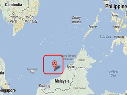 Bãi cạn James nằm gần Malaysia nhưng Trung Quốc vẫn tuyên bố chủ quyền Ảnh: GOOGLE MAPS