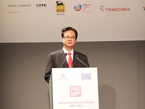 Thủ tướng Nguyễn Tấn Dũng phát biểu tại Đối thoại với Diễn đàn Doanh nghiệp Á - ÂuẢnh: TTXVN