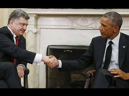 Tổng thống Mỹ Barack Obama tiếp Tổng thống Ukraine Petro Poroshenko tại Nhà Trắng ngày 18-9 Ảnh: REUTERS