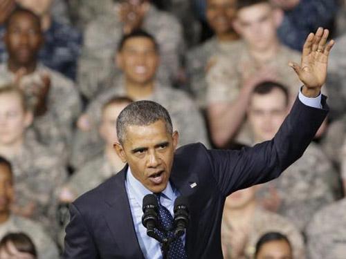 Tổng thống Mỹ Barack Obama phát biểu tại căn cứ Yongsan ở Seoul - Hàn Quốc ngày 26-4 Ảnh: Reuters