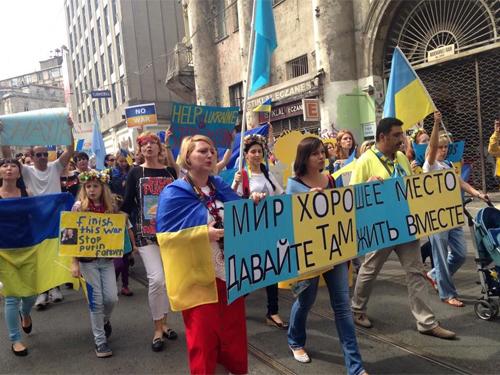 Cuộc tuần hành tại Thổ Nhĩ Kỳ ủng hộ hòa bình ở Ukraine Ảnh: RADIOSVOBODA.ORG