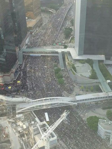 Một góc dòng người biểu tình Ảnh: THE WALL STREET JOURNAL