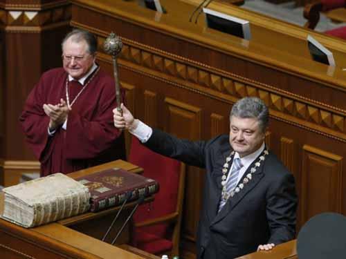 Tân Tổng thống Ukraine Petro Poroshenko tuyên thệ nhậm chức hôm 7-6Ảnh: UNIAN
