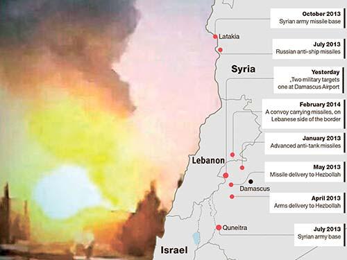 Vụ không kích ở sân bay Damascus hôm 7-12 và thông tin về các vụ không kích của Israel ở Syria trong 2 năm qua Ảnh: SHAM.FM