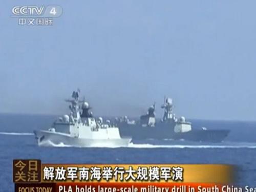 Một cuộc tập trận của quân đội Trung Quốc ở biển Đông Ảnh: CCTV