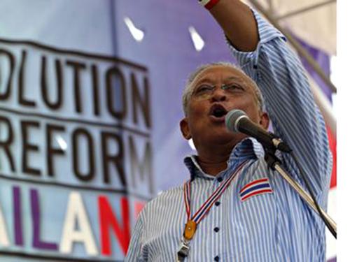 Ông Suthep Thaugsuban là một trong 14 thành viên chủ chốt của phe chống chính phủ bị truy bắt Ảnh: EPA