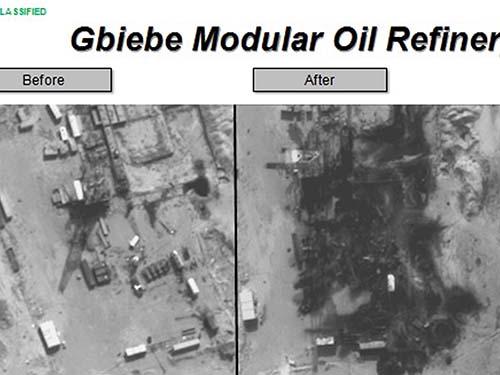 Hình ảnh trước (trái) và sau cuộc không kích của liên quân Mỹ vào Nhà máy lọc dầu Gbiebe Modular do IS kiểm soát tại Syria Ảnh: Reuters