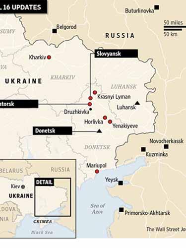l Những địa phương có tòa nhà chính quyền bị các tay súng chiếm giữ hoặc tìm cách chiếm giữ những ngày gần đây.  Những địa phương có các tòa nhà chính quyền bị chiếm giữ kể từ ngày 6-4. n Theo NATO, các hình ảnh vệ tinh cho thấy bằng chứng về sự tập trung quân của Nga gần biên giới Ukraine Nguồn: The Wall Street Journal
