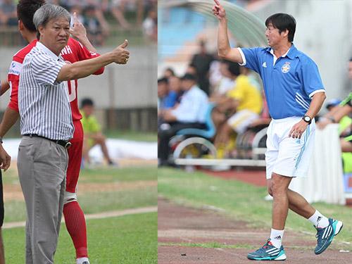 HLV Lê Thụy Hải (trái) đánh giá cao Huỳnh Đức nhưng ông muốn cùng B. Bình Dương rời sân Chi Lăng chiều tối 30-3 với 3 điểmẢnh: Quang Liêm