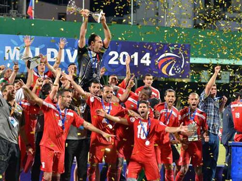 Palestine đem lực lượng mạnh nhất vừa vô địch AFC Challenge Cup ở Maldives sang đá giao hữu với Việt NamẢnh: VFF