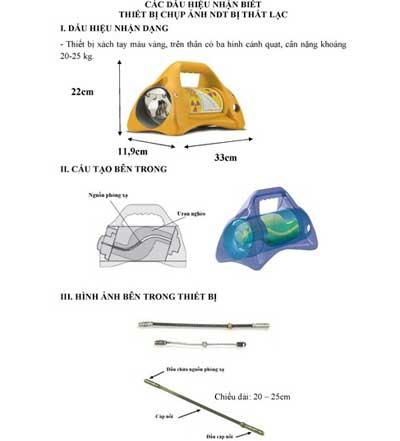 Hình ảnh mô tả thiết bị chứa phóng xạ bị mất cắp. Ảnh: Sở Khoa học và Công nghệ TP HCM