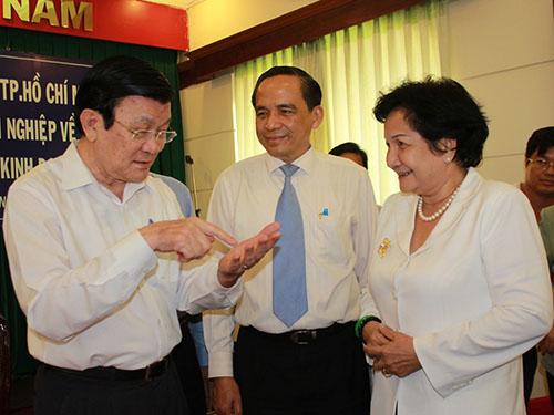 Chủ tịch nước Trương Tấn Sang lưu ý cần tạo điều kiện thuận lợi cho doanh nghiệp mới thành lập  Ảnh: Phan Anh