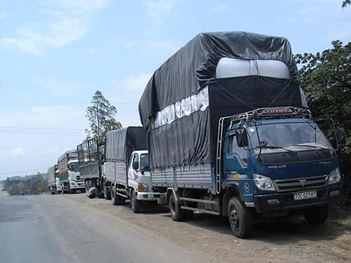 Đoàn xe quá tải đậu nối dài ở trạm cân Phú Yên (tỉnh Phú Yên)Ảnh: Hồng Ánh