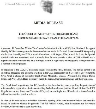 Văn bản của CAS khẳng định Barcelona vi phạm quy định của FIFA