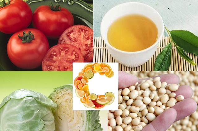Thực phẩm ngừa ung thư vú: trà xanh, cà chua, bắp cải, đậu tương, vitamin C, vitamin A, chất xơ,....
