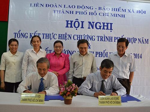 Đại diện LĐLĐ TP HCM và BHXH TP ký kết quy chế phối hợp công tác năm 2014