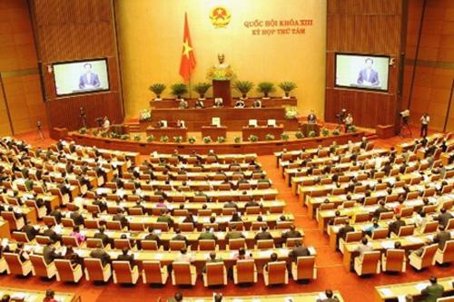 Toàn cảnh phiên khai mạc kỳ họp thứ 8, Quốc hội khóa XIII tại phòng họp chính Diên Hồng, Tòa nhà Quốc hội mới - Ảnh: VGP