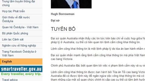 Tuyên bố của Đại sứ quán Australia trên trang web. Ảnh: Vietnamnet