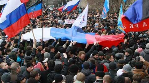Các cuộc biểu tình ở miền Đông Ukraine khiến tình hình nước này luôn trong trạng thái bất ổn. Ảnh: AP