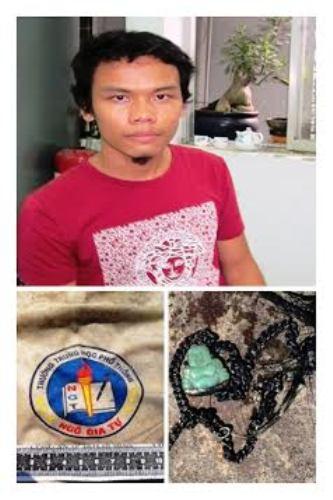 Hung thủ và quần áo, dây chuyền của nạn nhân