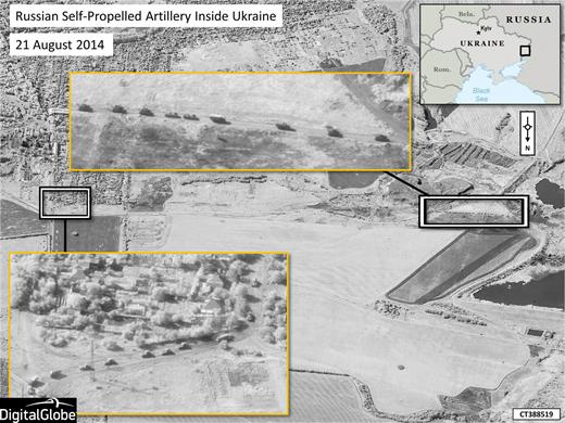 Hình ảnh từ vệ tinh cho thấy một đoàn xe quân sự tiến vào miền Đông Ukraine. Ảnh: NATO