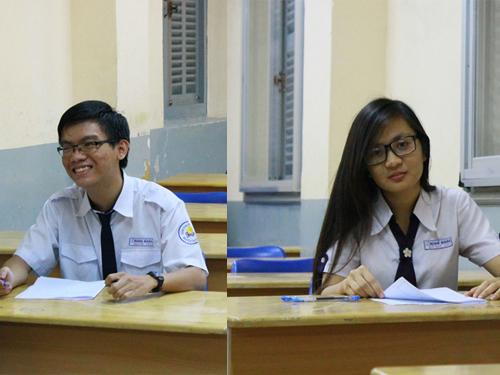 Hai thí sinh dự thi môn sử tại Hội đồng thi Nguyễn Thị Minh Khai, TP HCM