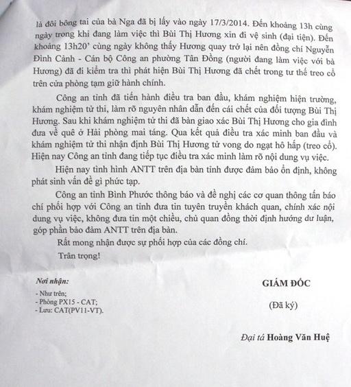 Văn bản phối hợp tuyên truyền của Công an phường Tân Đồng, Thị xã Đồng Xoài về vụ treo cổ của bà Bùi Thị Hương
