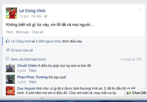 Ảnh chụp từ Facebook Lê Công Vinh