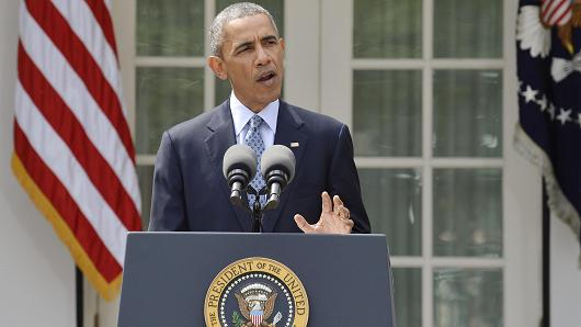 President Barack Obama speaks about the framework agreement on Irans nuclear program announced by negotiators in Switzerland during a statement in the Rose Garden of the White House in Washington April 2, 2015.