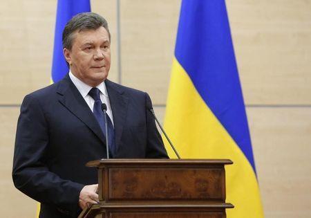 Cựu Tổng thống Ukraine Viktor Yanukovich trong một lần phát biểu ở Tp Rostov-on-Don, Nga ngày 11-3-2014. Ảnh: Reuters