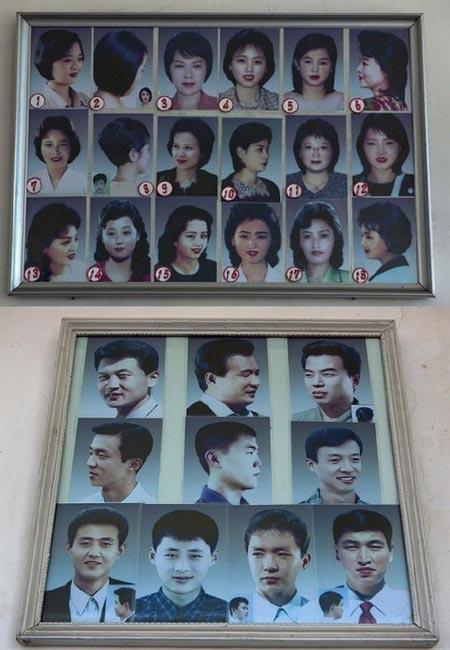 28 kiểu tóc quy chuẩn dành các công dân Triều Tiên được dán khắp các tiệm cắt tóc trên toàn quốc. Ảnh: Want China Times