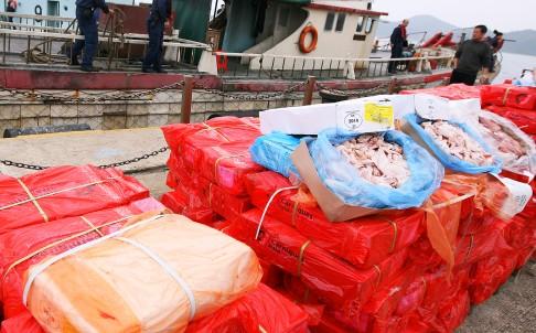 Số thịt động lạnh mới bị hải quan Trung Quốc bắt giữ. Ảnh: SCMP