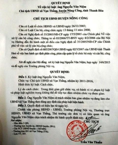 Quyết định cách chức ông Nguyễn Văn Niệm, Chủ tịch UBND xã Vạn Thắng - Nông Cống (Thanh Hóa)