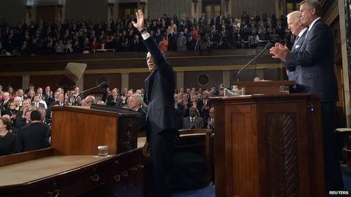 U.S. President Barack Obama (L) acknowledges appalause as he delivers his State of the Union address to a joint session of Congress, as Vice President Joe Biden (2ndR) and House Speaker John Boehner (R-OH) applaud on Capitol Hill in Washington, January 20, 2015.