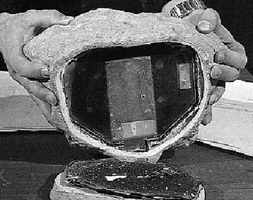 Viên đá có giấu thiết bị thu phát hiện đại - Ảnh: news.cn