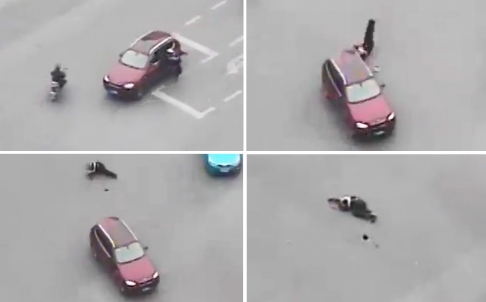 Surveillance camera footage of the accident in Shanghai. Photos: SCMP Pictures