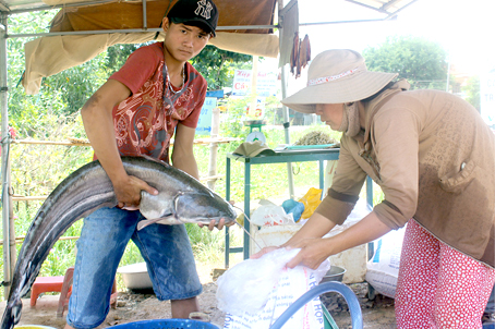 Con cá leo gần 10kg được ngư dân làng chài ấp 1, xã Phú Ngọc (huyện Định Quán) mới đánh bắt được.